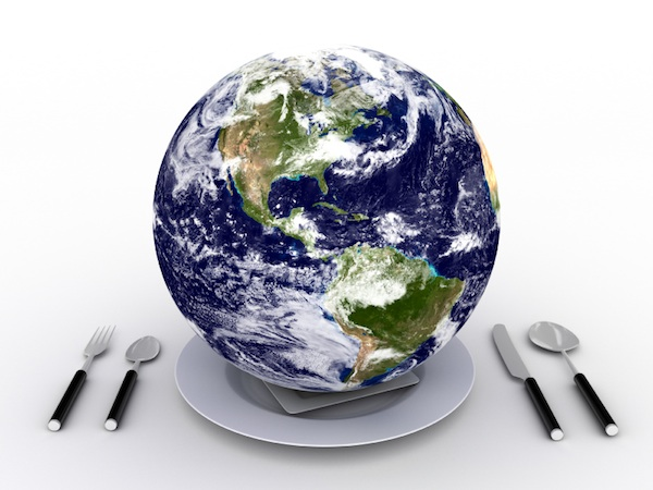 Earth on plate