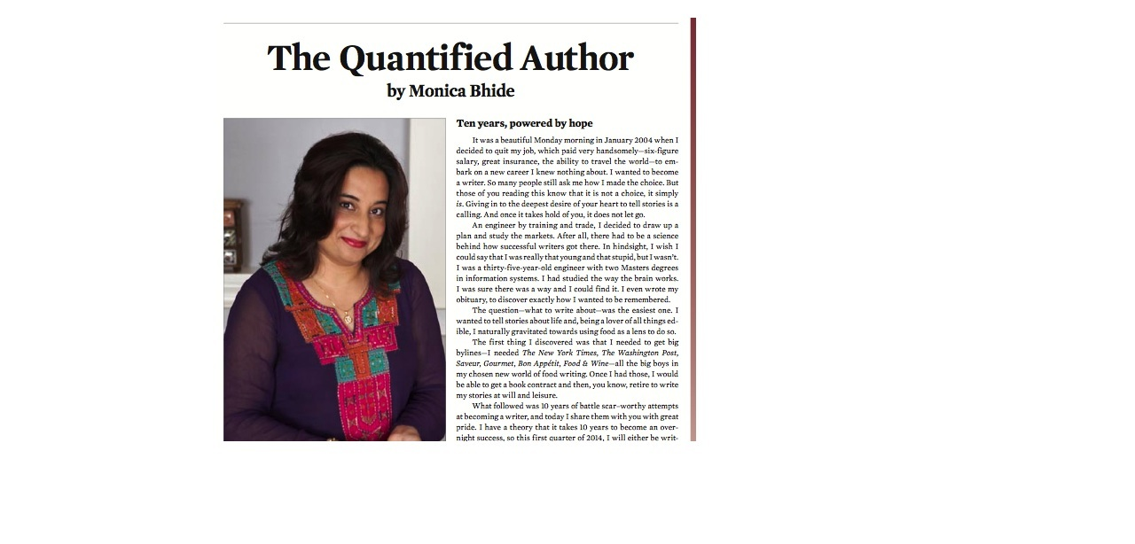 The Quantified Author: Lessons from my food writing career
